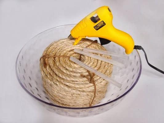 Como fazer cesta com tigela de vidro