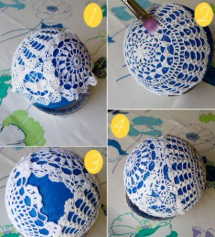 Fazendo artesanato com toalhinha de crochê