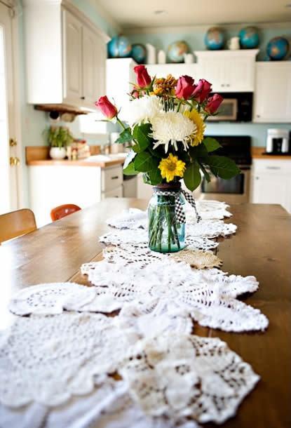 Decoração com toalhinhas de crochê