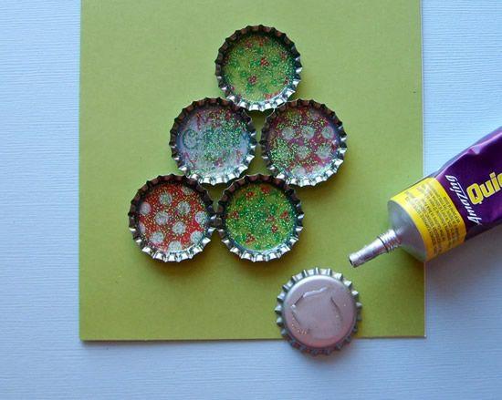 Artesanato com tampinhas para o Natal