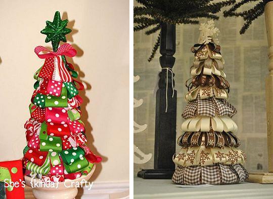 decoracao arvore de natal passo a passo:Árvore de Natal com fitas de tecido passo a passo