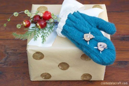 Decoração com luvinhas de lã - Enfeite de Natal