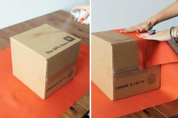 Caixa organizadora de papelão decorada para fazer em casa