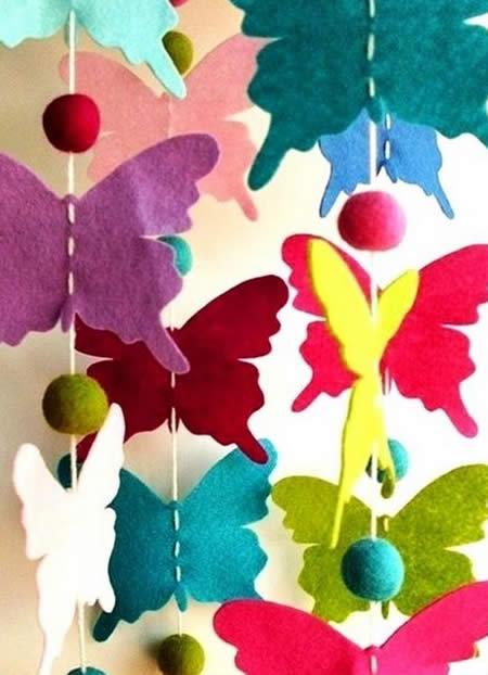 Decoração para a casa com borboletas de feltro