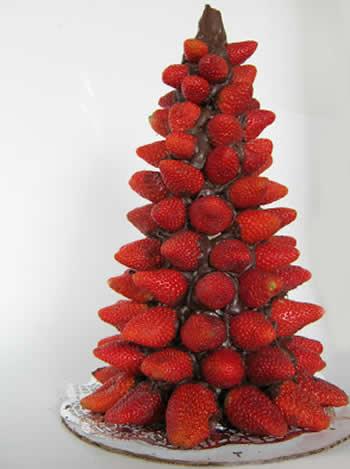 Decoração com morangos para o Natal