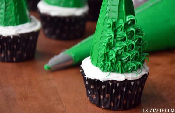 Cupcake em forma de Árvore de Natal