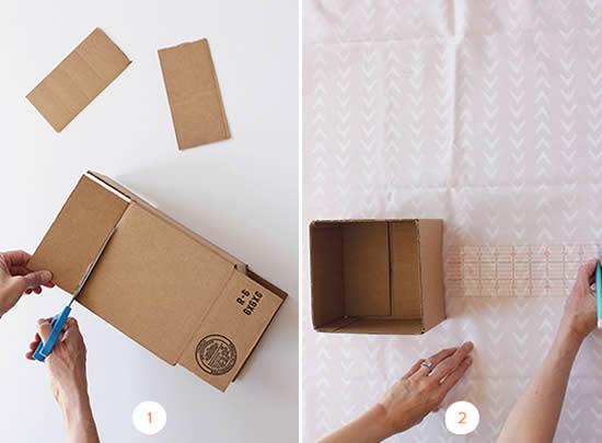 Decoração com artesanato em caixa de papeão