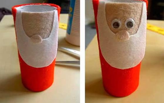 Papai Noel com Feltro e Papel Higiênico