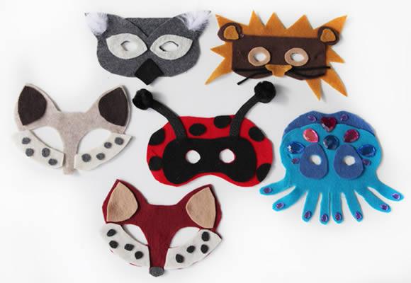 Moldes de Máscaras de Animais em Feltro
