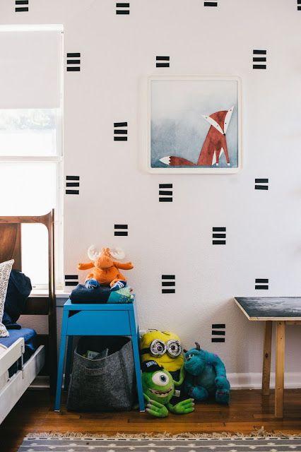texturinha em parede com fita isolante