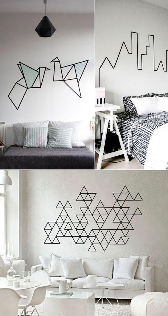 desenhos geométriso com fita isolante