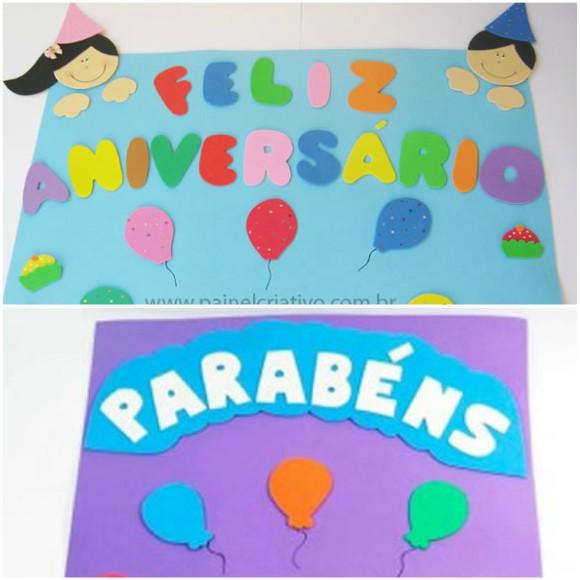 Painel de aniversario em EVA para sala de aula com Moldes