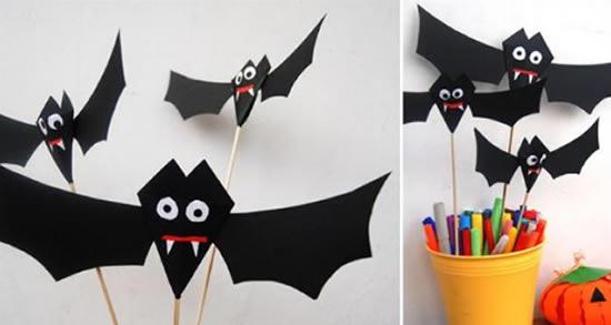 Morcegos de Papel para o Halloween