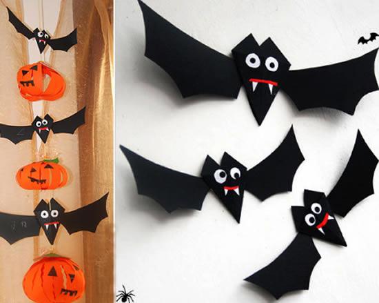 Morcegos de papel para o halloween passo a passo for How to make homemade halloween crafts