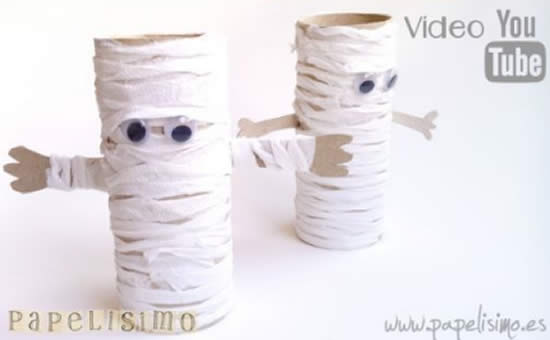 Faça Múmias com Rolos de Papelão para Decoração de Halloween