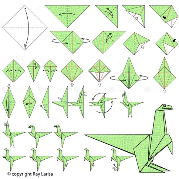 Como fazer Dinossauros de Papel com Origami passo a passo