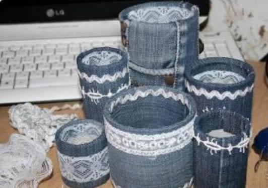 Como fazer Latas Decoradas com Jeans passo a passo
