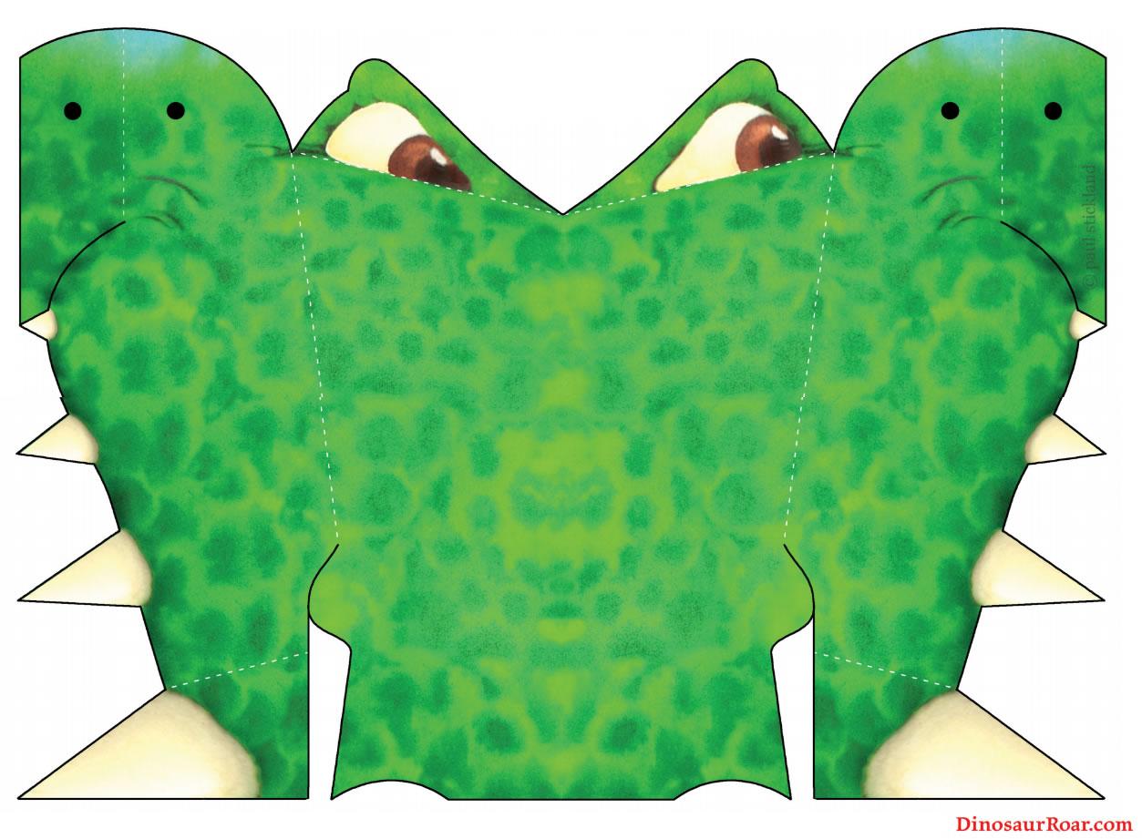 Moldes para fazer Máscara de Dinossauro Colorida de Papel