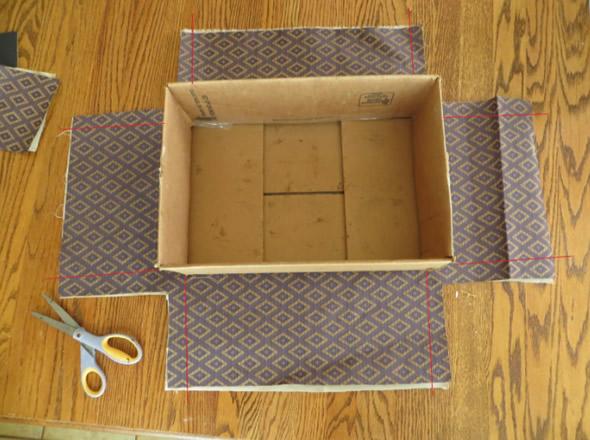 Como fazer Caixa de Papelão Decorada com Tecido