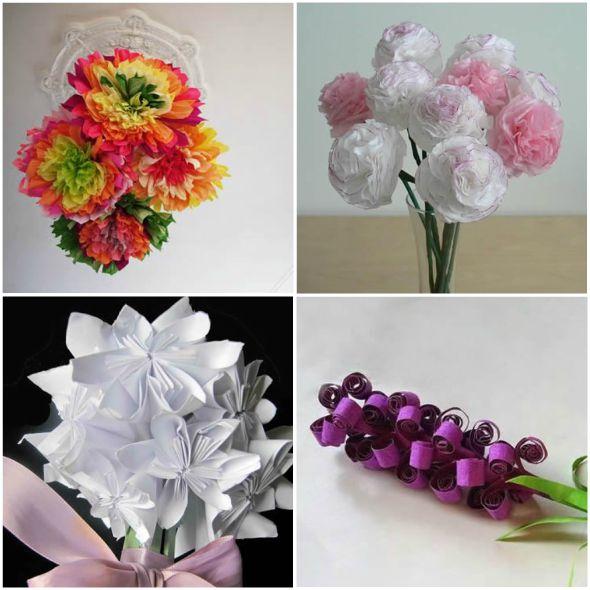 10 formas de fazer Flores de Papel para Decoraç u00e3o passo a passo -> Decoração De Flores De Papel Para Aniversario