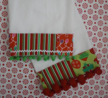 Pano de Prato Decorado para o Natal passo a passo