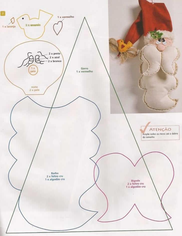 Moldes de Papai Noel de Feltro para Imprimir