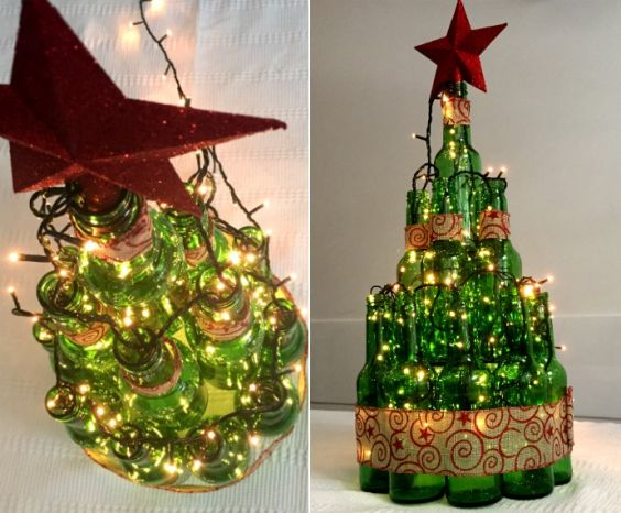 Reciclagem com Garrafas Decoradas para o Natal