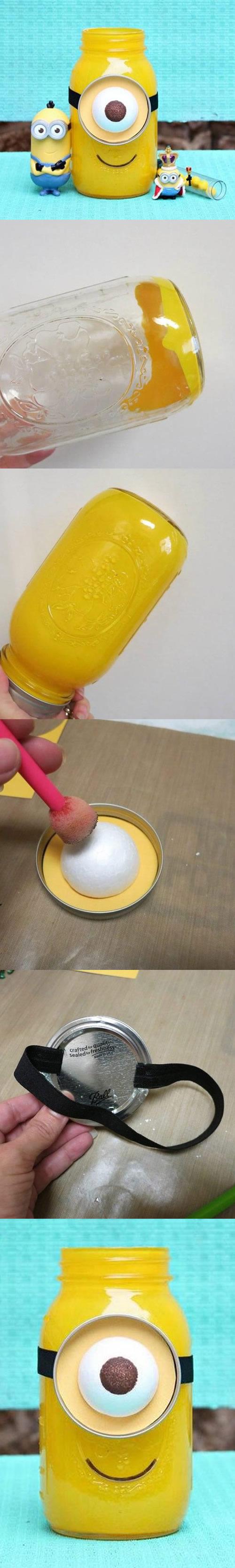 Lembrancinha para Festa dos Minions com Pote de Vidro