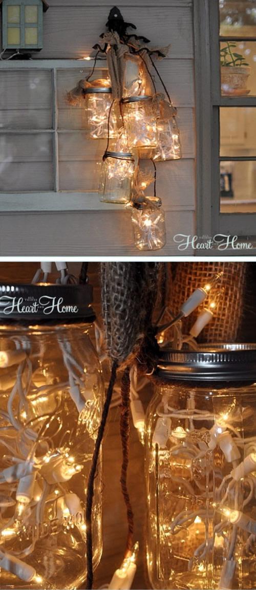 Potes de Vidro Decorados para o Natal