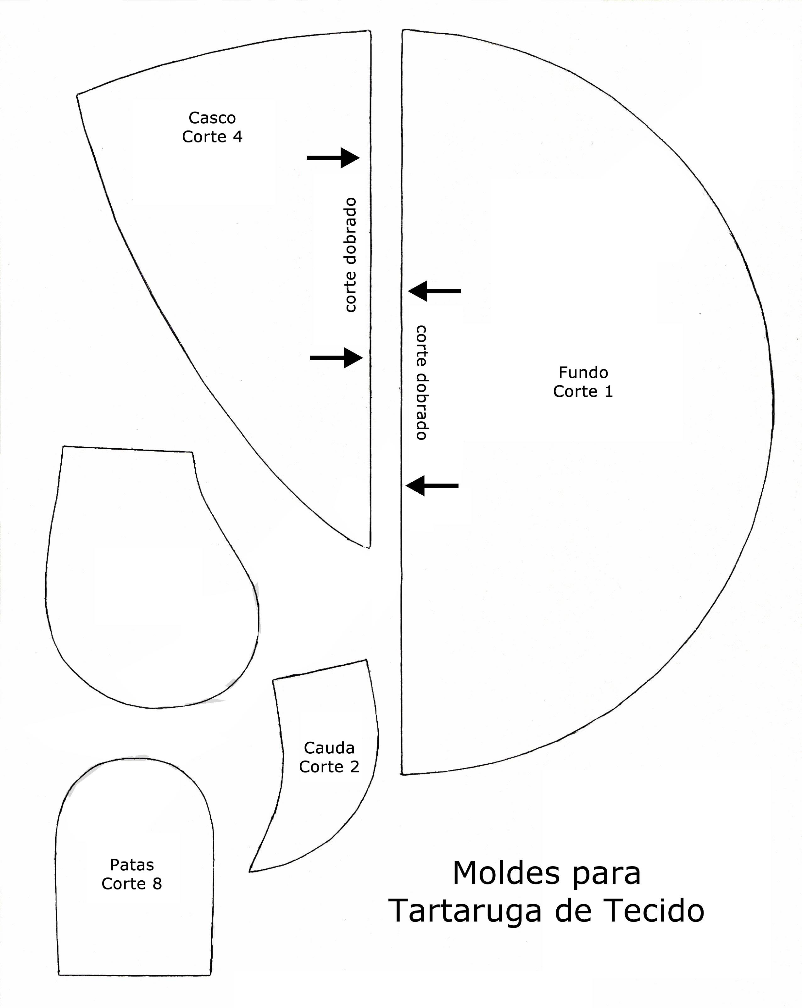Tartaruga de Tecido para Peso de Porta com Moldes