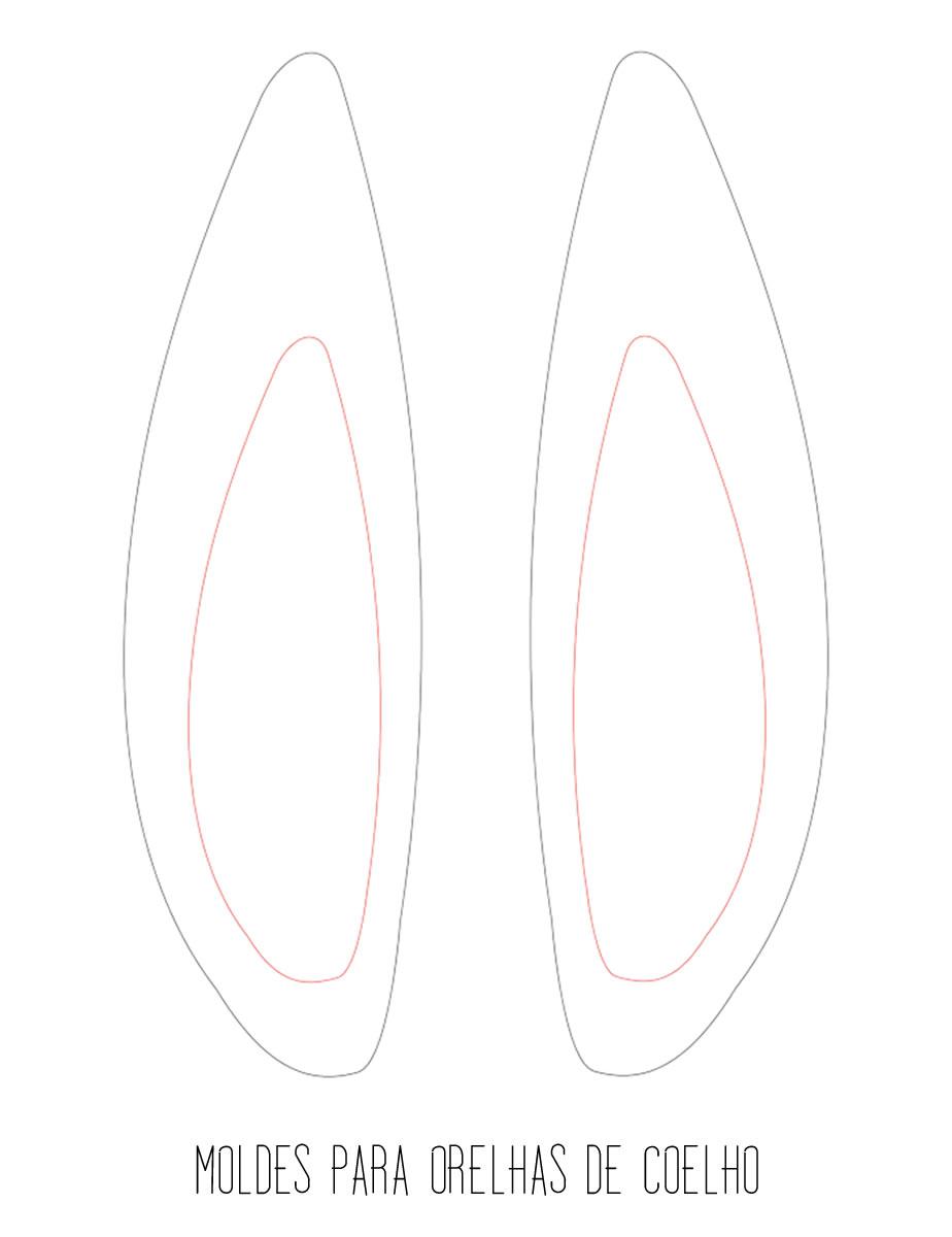 Moldes para fazer Orelhas de Coelho para a Páscoa