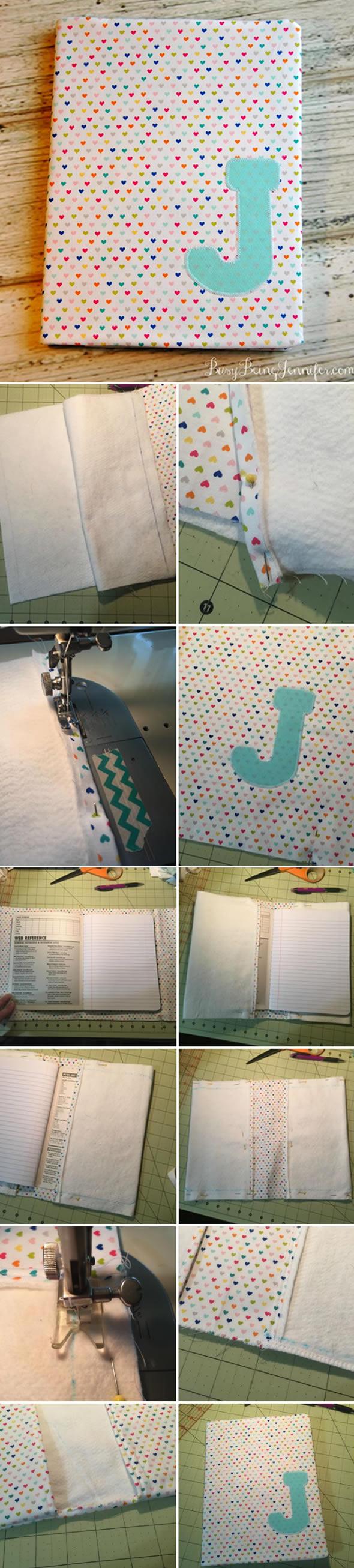 Como fazer Capa de Tecido para Caderno passo a passo