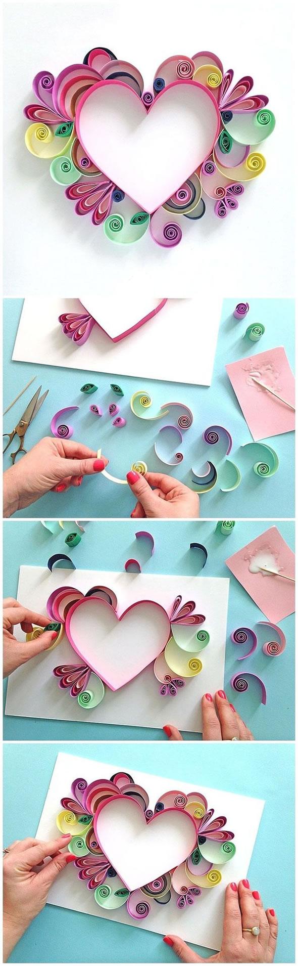 Decoração com Coração de Papel Colorido para o Dia das Mães