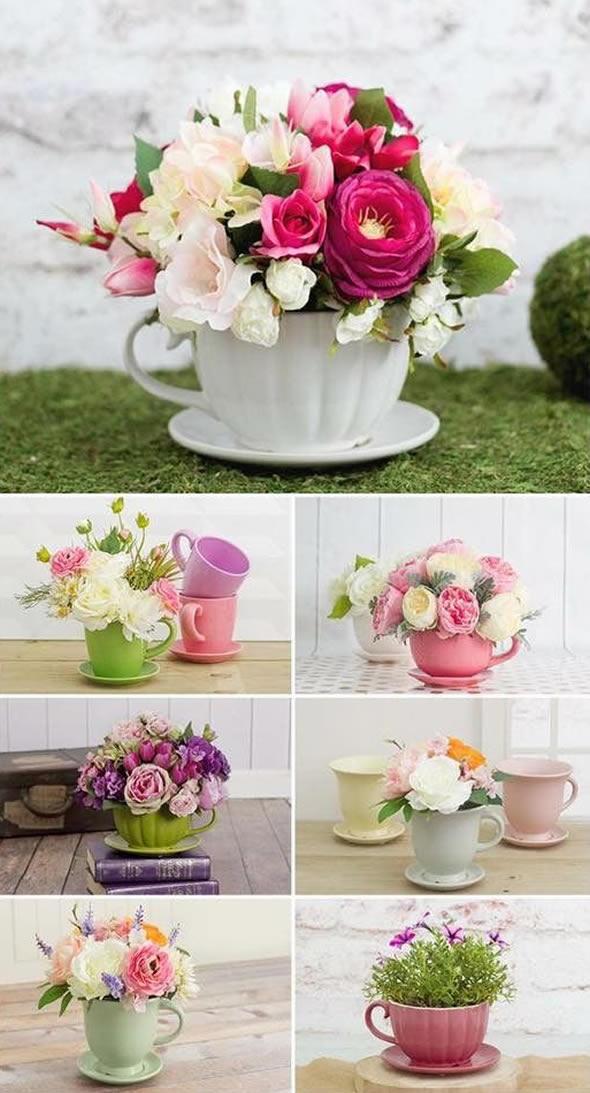10 Exemplos para fazer Decoração de Xícara com Flores Dentro