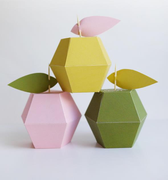 Moldes de Caixinhas Maçãs para Festa de Dia das Mães