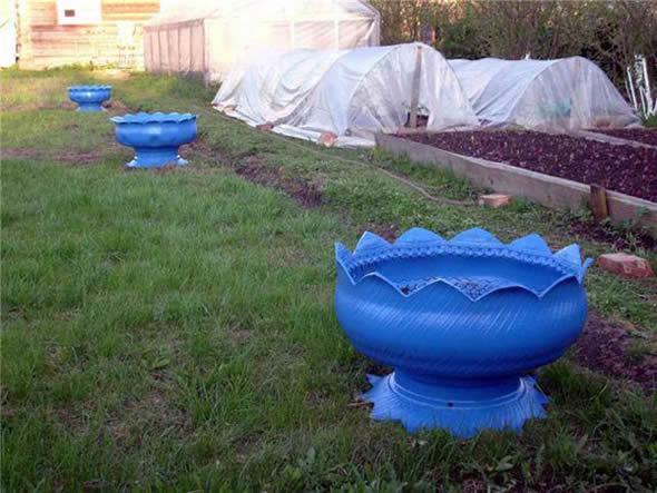 Vasos de Pneus para Jardim