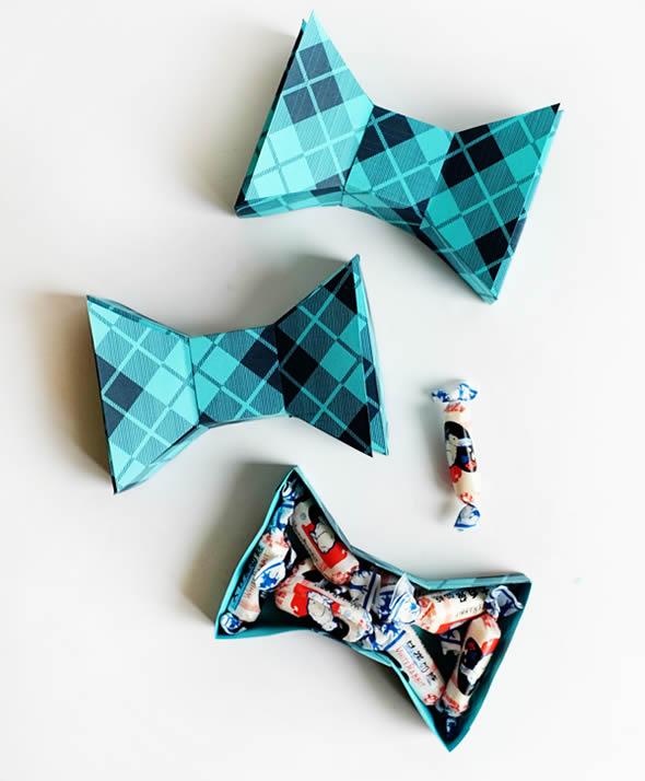 Caixinha Gravata Borboleta com Moldes para o Dia dos Pais