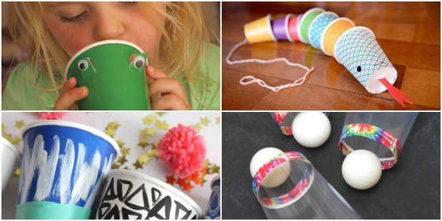 Brinquedos com Copos Descartáveis passo a passo