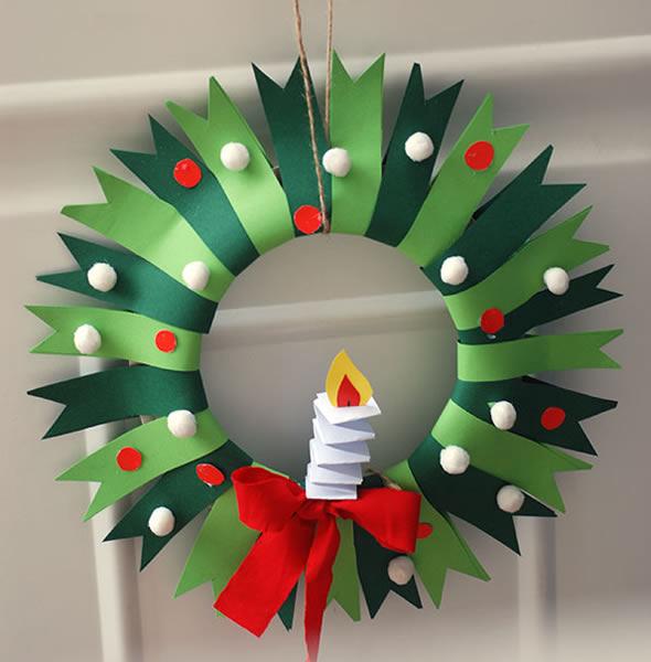 Guirlanda de Natal com Feltro e Reciclagem