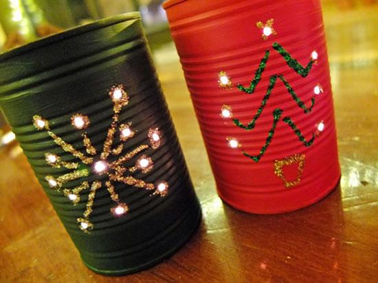 Latas Decoradas para Natal