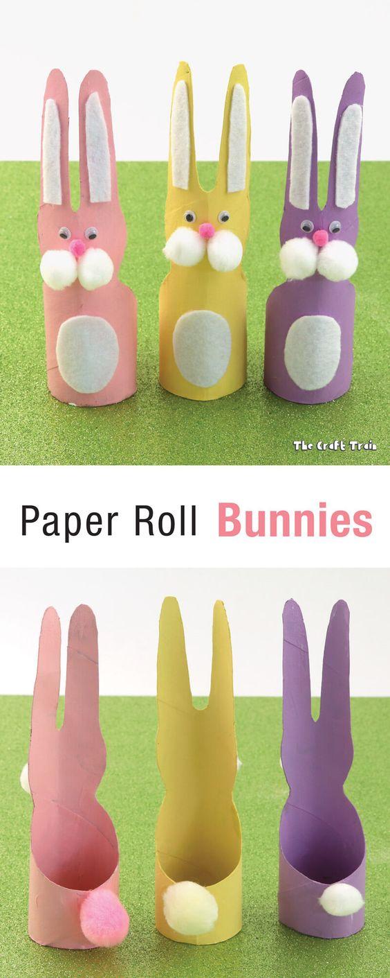 coelhos de papel higiênico Brinquedos de papel reciclado