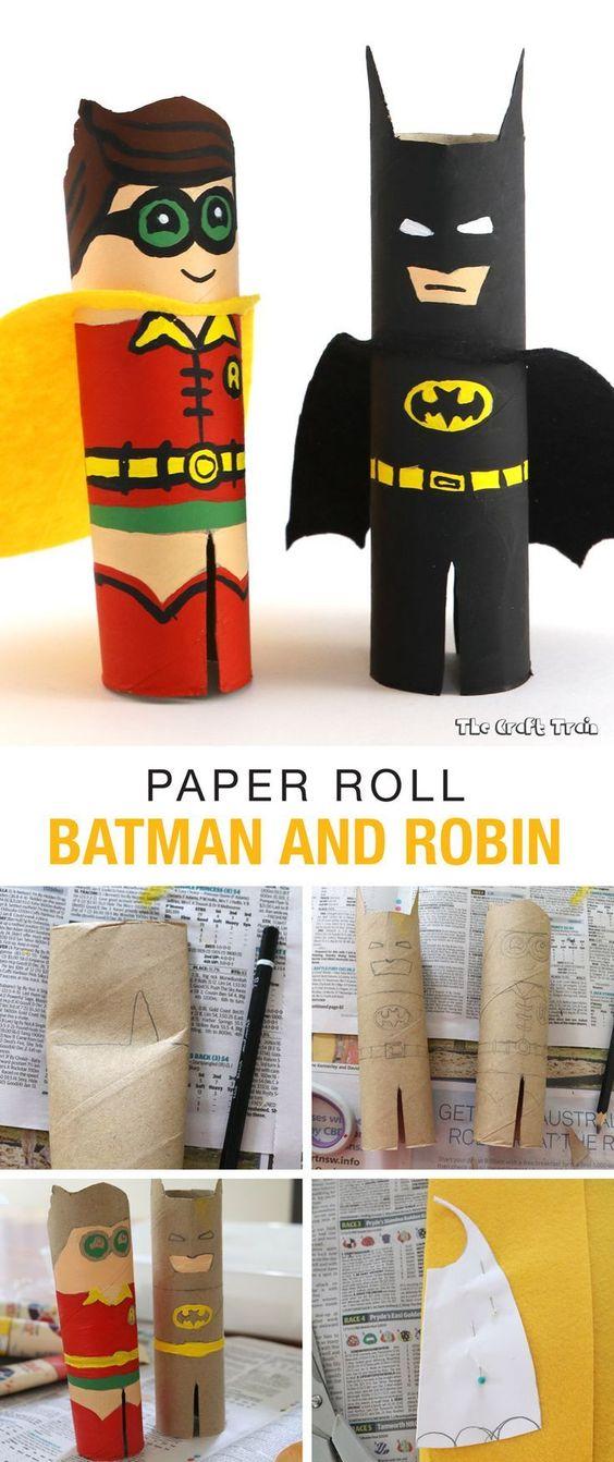 batman e robin de rolo de papel higiÊnico Brinquedos de papel reciclado