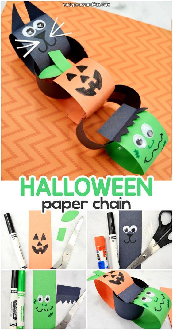 Brinquedos de papel reciclado corrente de bichinhos para o halloween