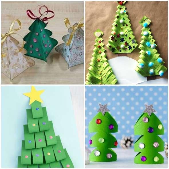Árvores de Natal de Papel com Moldes