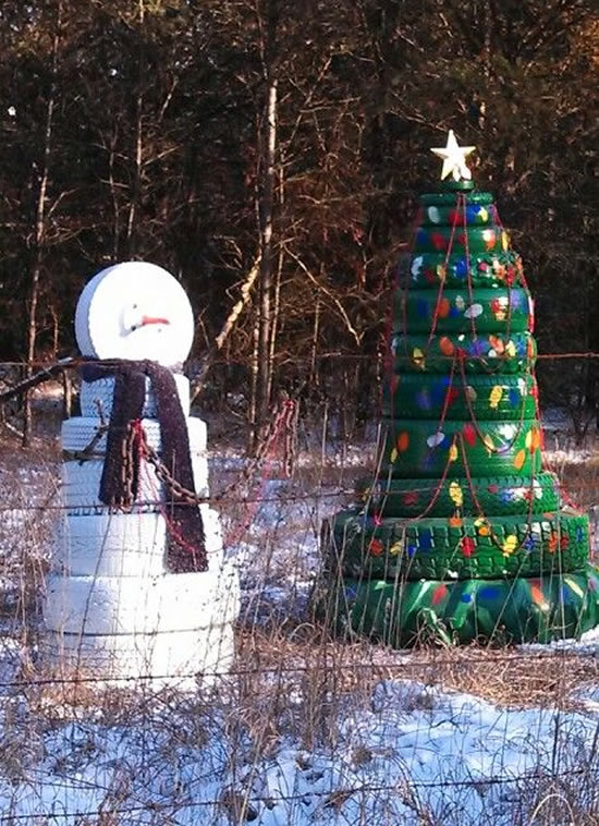 Decoração de Natal com Pneus Velhos