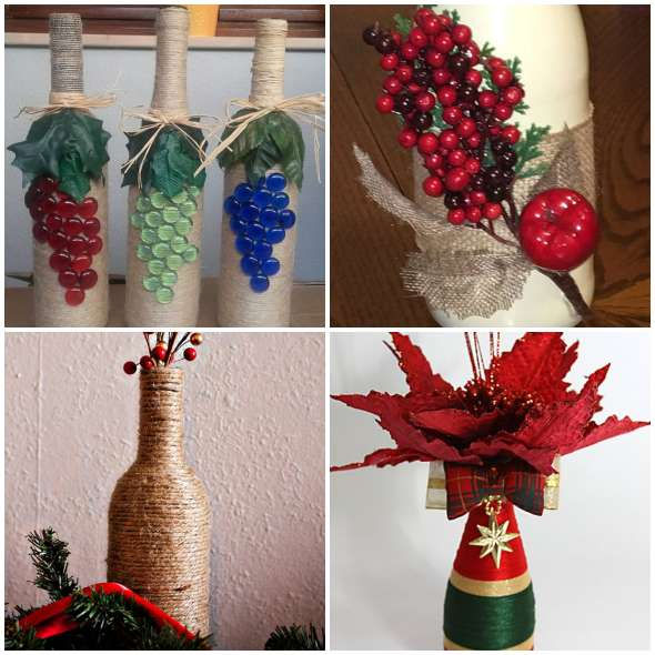 Garrafas Decoradas com Barbante para Natal