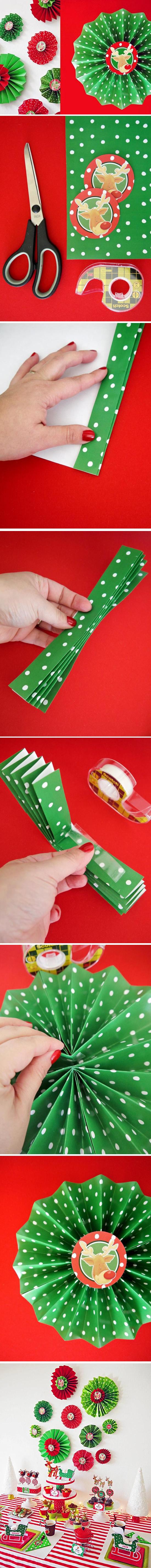 Enfeites de Natal com Papel Sanfonado