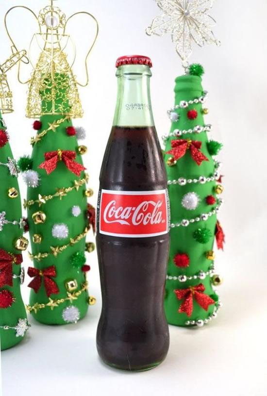 Decoração de Natal com Garrafas de Vidro