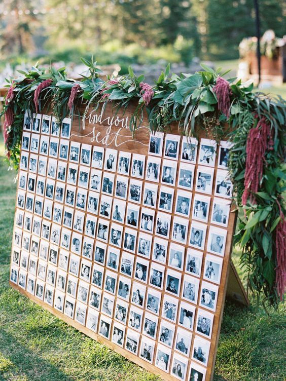 varal de fotos para casamento em tábua de madeira