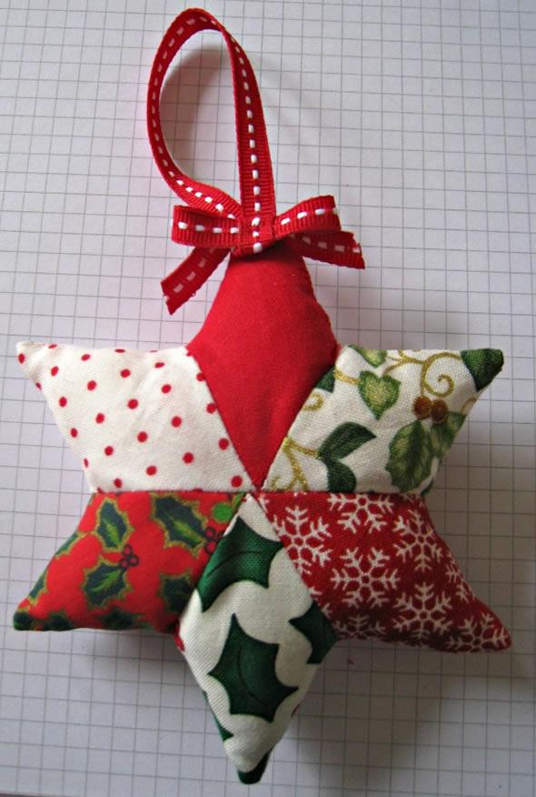 Enfeites de Natal em Patchwork com Moldes